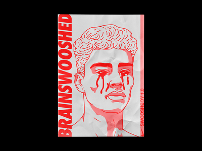 Brainswooshed tears portrait nike air swoosh nike poster brutalism red line minimal type illustration typography graphic design