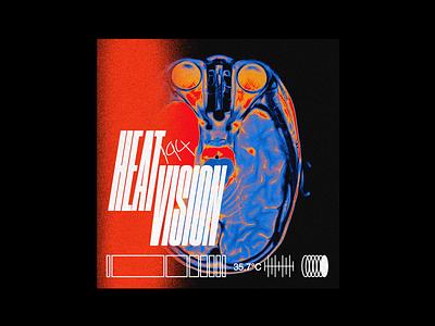 Heat Vision druk heat x ray skull poster brutalism line minimal type typography graphic design