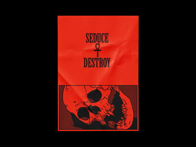 1/21 Seduce & Destroy vampire halloween spooktober october death skull poster brutalism red line minimal type illustration typography graphic design