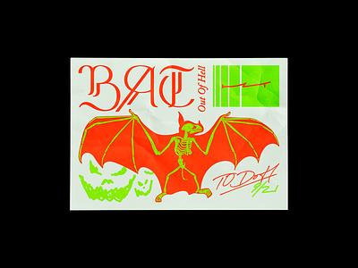 9/21 Bat out of Hell halloween hell meatloaf bat skeleton poster brutalism red line type illustration typography graphic design minimal