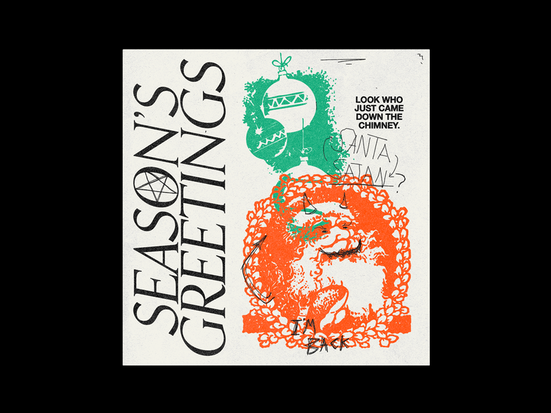 Season's Greetings trash occult holidays xmas christmas seasons greetings santa poster red brutalism type illustration typography graphic design