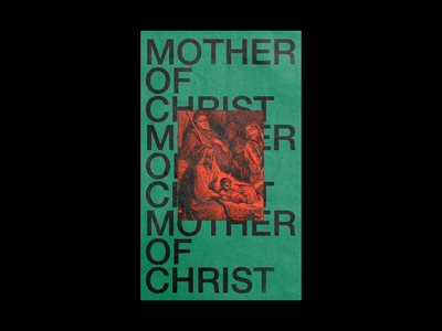 MOTHER OF CHRIST? xmas stable birth vintage christmas red poster brutalism type illustration typography graphic design minimal