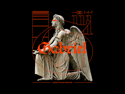 Gabriel gabriel christmas angel statue brutalism minimal type typography graphic design
