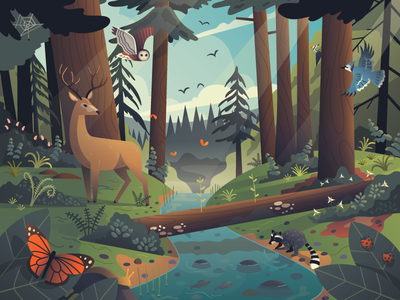 Redwood Forest Puzzle deer san francisco vector design illustration puzzle nature forest redwood
