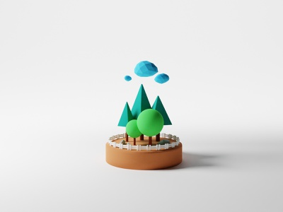 My First 3D Shot! plant simple lowpoly arborday blender clouds fence rocks trees 3dmodel blender3d 3d