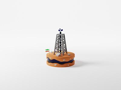 The Oil Rig persian gas petrol oilrig lowpoly rocks iran flag petroleum oil diorama cyclesrender blendercycles cycles 3drender 3dmodel blender3d 3dart blender 3d
