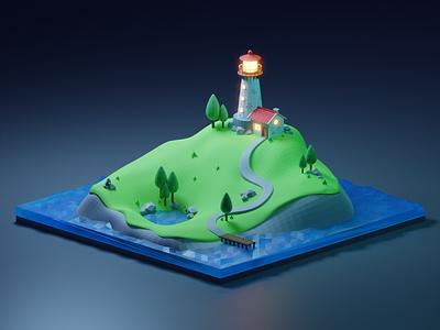 Lighthouse Island game 3drender night mode 3dart blender3dart grass night rocks lake house diorama lowpoly sea island lighthouse cycles render blender 3d