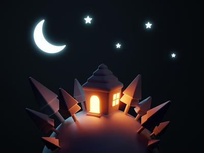 Tiny planet at Night 3d illustration 3dart blendercommunity cycles render moonlight glow cake pastel isometric planet tree star moon night house b3d blender 3d