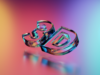 Glass 3D glossy font bevel text shader metallic metall b3d lighting light colorfull material glass render cycles blender 3d