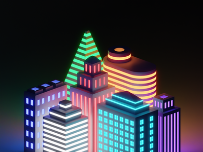 Skyscrapers at Night light apartment emission lowpoly isomteric neon light 3dillustration 3d art render cyclesrender cycles darkmode building skyscraper neon dark night b3d blender 3d
