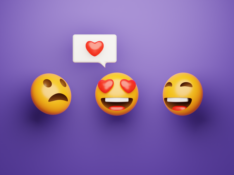 3D Emojis sticker message purple smile face heart love laughing shocked b3d render emoji cycles blender 3d