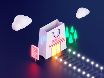 Paper Bag Shaped Store :) paper bag shopping bag shop glow neon blendercycles isometric cyberpunk night bag store illustration b3d lowpoly cycles blender 3d