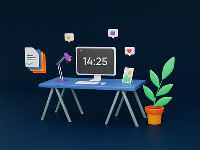The Blue Desk (Dark Bkg) work pot plant workspace task imac pc table desk desktop dark 3dart illustration b3d lowpoly cycles blender 3d