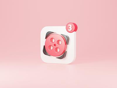 Aparat 3D Logo youtube movie macosx soft3d iran icon concept aparat illustration render b3d logo cycles blender 3d