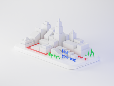 Light City Map minimal simple way apartment building city light map iphone white clay illustration render b3d cycles blender 3d
