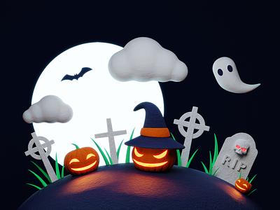 Halloween Terror 🎃 jack o lantern jackolantern bat planet moon scary terror gravestone tombstone witch ghost tomb grave pumpkin skull illustration b3d cycles blender 3d