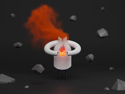 The Fire Guardian red cloud fog glow sketch blender3d rock smoke character guardian fireball fire illustration 3dart cycles blender b3d 3d