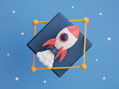 To infinity... and beyond 🚀 launch red blue sky modelling model toystory cloud travel star space logo icon toy rocket illustration b3d cycles blender 3d