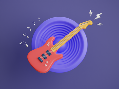 Electric Guitar 3D Icon 🎸 butterscotch rock string electric electric guitar stratocaster fender purple guitarist note lightning music speaker guitar illustration render b3d cycles blender 3d