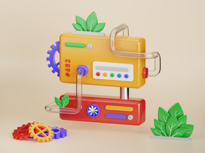 Processing Machine #2 gear leaf energy machinery pipeline toy clean green factory engine machine illustration b3d cycles blender 3d