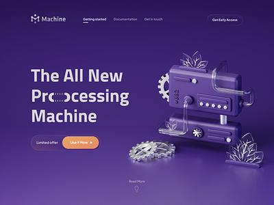 Processing Machine #2 (revamped) process leaf hero website gear pipe purple machine 3dart logo illustration render b3d cycles blender 3d