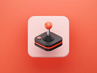 Joystick 3D Icon controller nostalgy orange red arcade game joystick icon illustration b3d cycles blender 3d