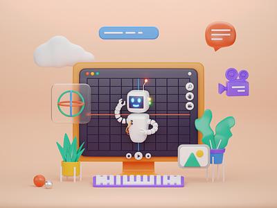 blender inside blender text bubble camera keyboard orange plant character robot ui illustration render b3d cycles 3d blender