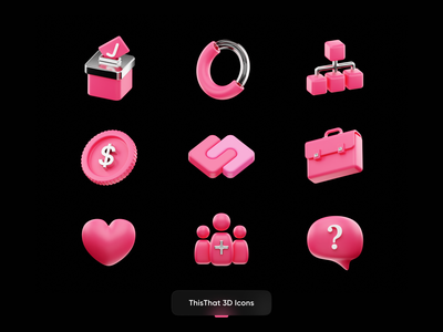 ThisThat 3D Icons team business message coin chart user vote metal pink real icon logo ui 3dart illustration render b3d cycles blender 3d