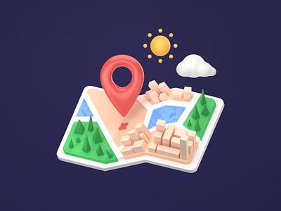 Pop-up Map cute minimal building tree pin google lowpoly simple logo 3dart illustration render b3d cycles blender map 3d ui