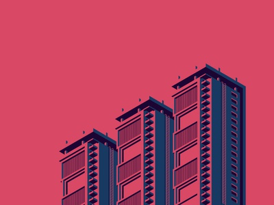Red Isometric Building