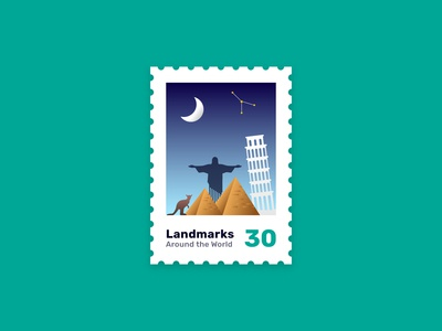 World Landmarks Stamp