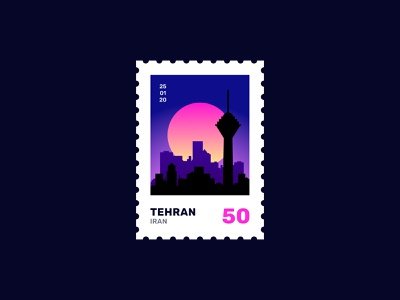 Tehran Twilight Stamp persian iranian travel 50 silhouette simple colorful gradient typography adobe illustraion illustrator post mail twilight stamp flat earth iran