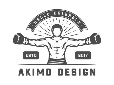 Boxing Emblem active welcome fitness gym training retro vintage first shot sport badge emblem logo
