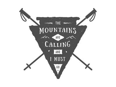 Adventure poster motivation badge winter ski travel mountain adventure poster emblem logo