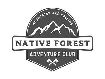 Vintage adventure badge retro axe nature outdoor vintage mountain adventure camping travel badge emblem logo