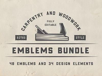 Carpentry and Woodwork Emblem retro vintage work mechanic carpentry woodwork wood forest badge emblem logo