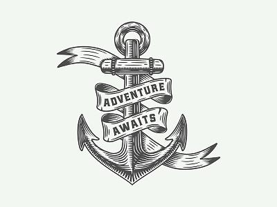 Adventure motivational poster emblem vintage retro trip logo poster print explore anchor navy vector illustration inspirational motivational travel adventure badge