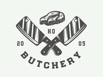 Vintage butchery emblem meat axe knife steak restaurant butchery vector design retro badge emblem logo