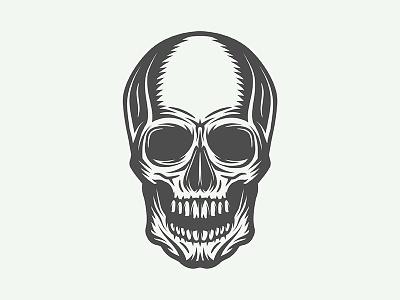 Vintage skull lines halloween monochrome scary head anatomy vector design illustration emblem logo skull
