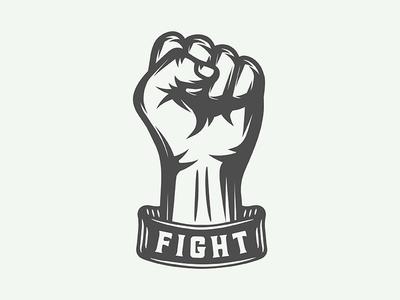 Vintage motivational poster with fist retro protest strike fight motivation fist emblem poster logo illustration vector design