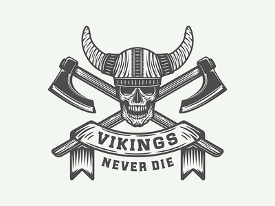 "Motivational Poster ""Vikings never die"""