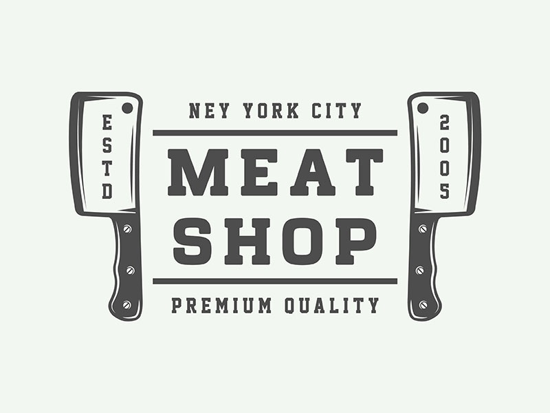 Vintage butchery emblem vector steak retro restaurant meat logo knife emblem design butchery badge axe