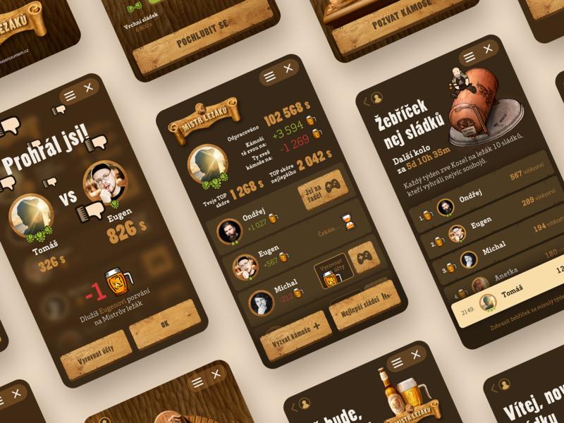 Master of Lagers UI/UX illustration craft wood badge czech beer beer lager messenger app messenger instant instant game instantgames game design game interface game uikit uidesign uiux ux ui