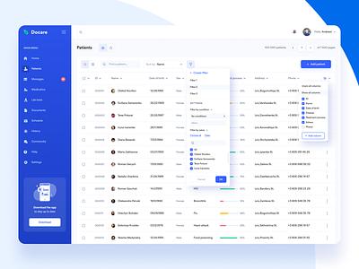 Docare. Database interface web dashboard blue ui  ux interface health app healthcare health medicine database doctor
