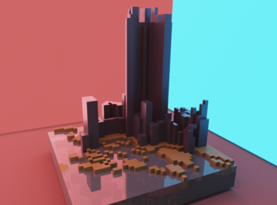 3D modeling - Futuristic Neon City neon city sci-fi 3d modeling 3d magicavoxel