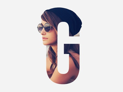 Letter Mask girl sexy glasses woman visual design type double exposure image text effect letter mask