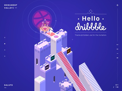 Hello Dribbble! salute valley2 monument illustration dribbble hello