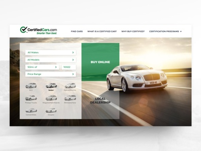 Certified Cars homepage design