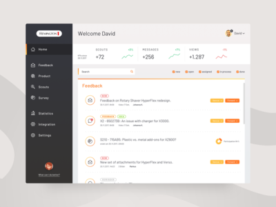 UI for Feedback center dashboard