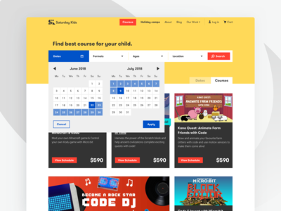 Coding Courses for Kids - Search result page